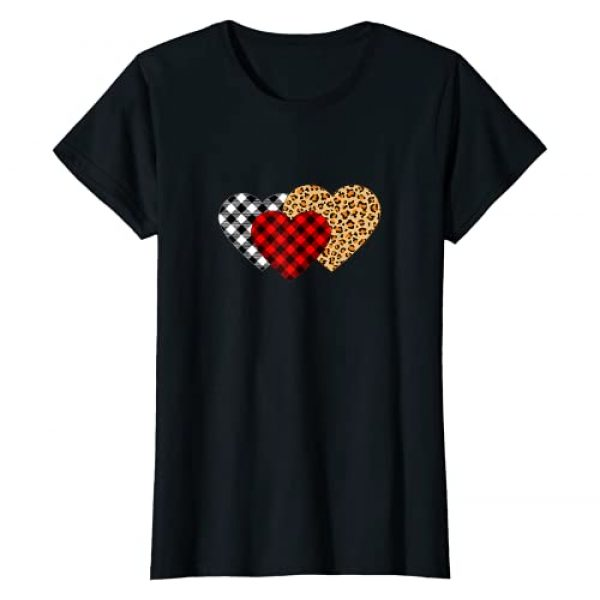 Funny Cute Valentine's Day Tees Graphic Tshirt 1 Valentine's Day Buffalo Plaid, Leopard Print Hearts Girl's T-Shirt
