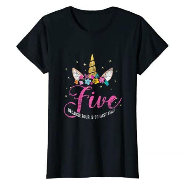 Birthday Girl Unicorn Gifts Graphic Tshirt 1 5 Years Old Birthday Girl Gifts Unicorn 5th Birthday T-Shirt