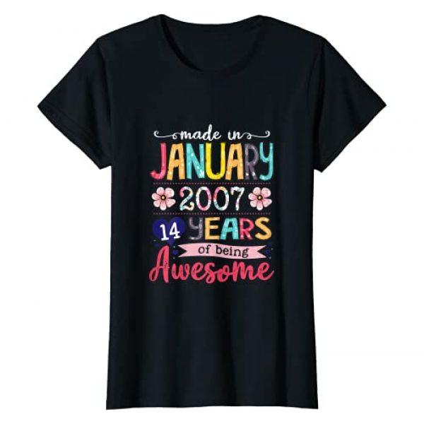 Vintage January 2007 14th Birthday Shirt 2007 Graphic Tshirt 1 January Girls 2007 Birthday Gift 14 Years Old Made in 2007 T-Shirt
