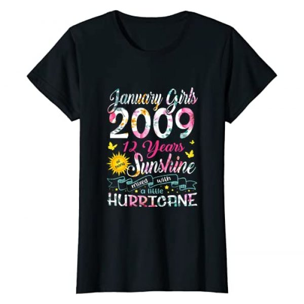 Vintage January 2009 12th Birthday Shirt 2009 Graphic Tshirt 1 January Girls 2009 Birthday Gift 12 Years Old Made in 2009 T-Shirt