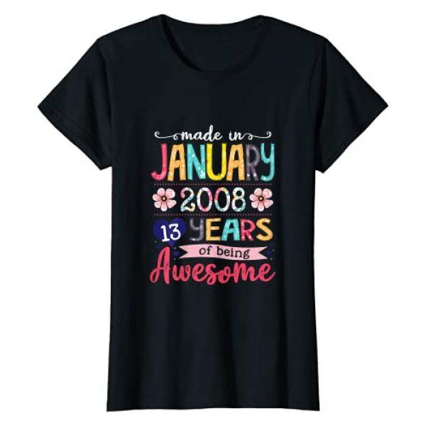 Vintage January 2008 13th Birthday Shirt 2008 Graphic Tshirt 1 January Girls 2008 Birthday Gift 13 Years Old Made in 2008 T-Shirt