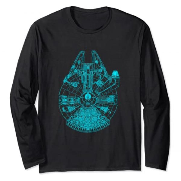 Star Wars Graphic Tshirt 1 Millennium Falcon Outline Graphic Long Sleeve Tee