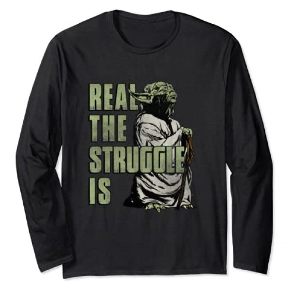 Star Wars Graphic Tshirt 1 Yoda Real The Struggle Is Graphic Long Sleeve Tee