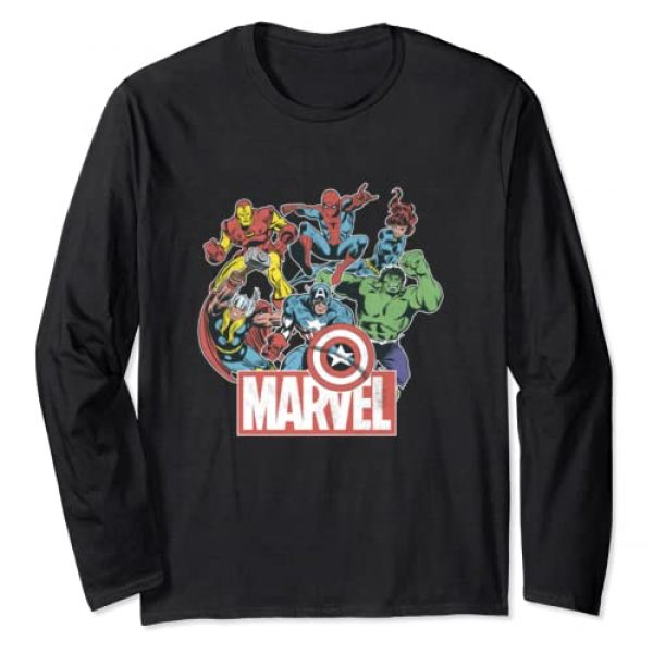 Marvel Graphic Tshirt 1 Avengers Team Retro Comic Vintage Long Sleeve Tee