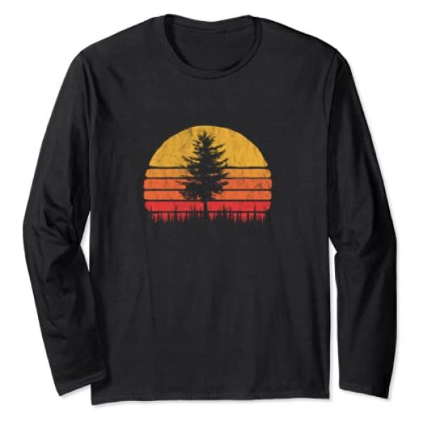 Mountain Life Outdoor Junkie Tees Graphic Tshirt 1 Retro Sun Minimalist Pine Tree Vintage Graphic Long Sleeve T-Shirt