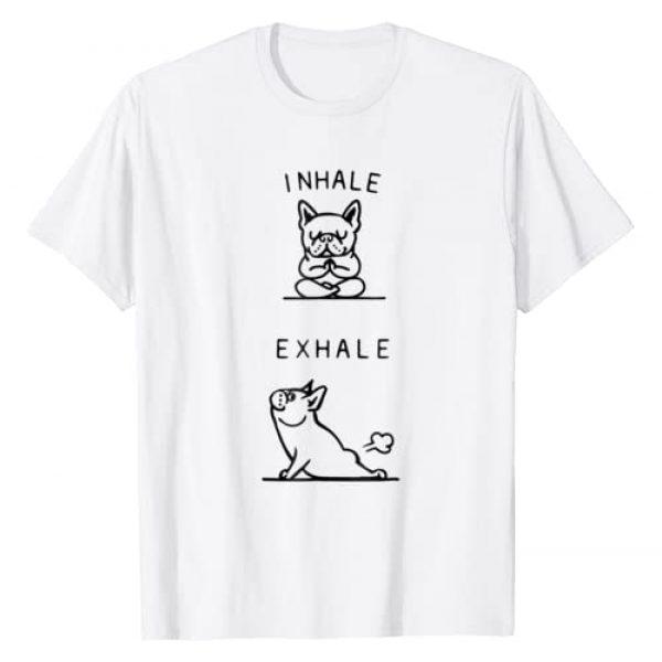 The best dog yoga poses clothing Graphic Tshirt 1 Inhale Exhale French Bulldog Asana Pose Funny T-Shirt
