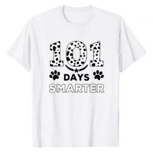 Cute 101 Days Smarter Dalmatian Dog Lover Graphic Tshirt 1 101 Days Smarter Dalmation Dog Funny Teachers Kids Gift T-Shirt