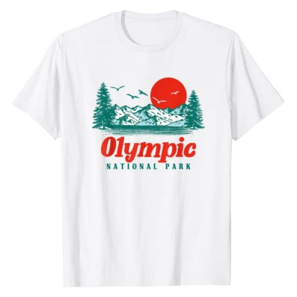 Out West Supply Co. National Park Threads Graphic Tshirt 1 Retro Olympic National Park Mountain Trees & Sun Graphic T-Shirt