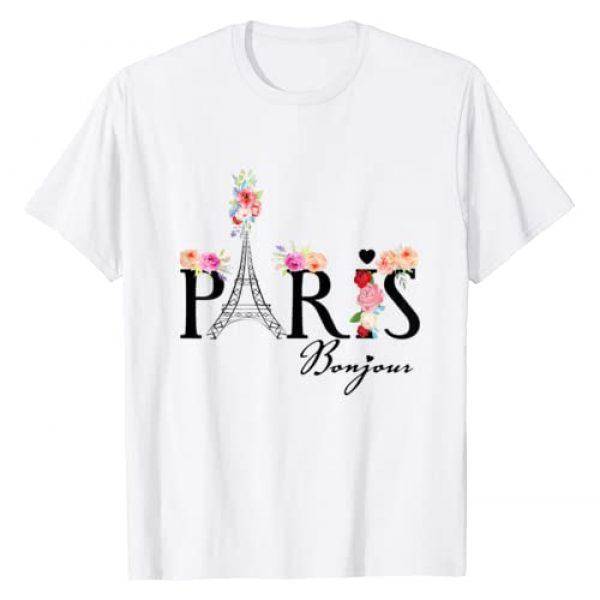 Bonjour Paris Eiffel Tower Tshirt - France Tshirt Graphic Tshirt 1 Bonjour Paris with flowers T-Shirt