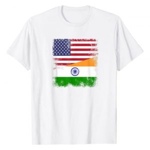 India National Pride Country Roots Outfit Graphic Tshirt 1 Half Indian Flag T-Shirt | Vintage India USA Gift
