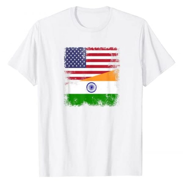 India National Pride Country Roots Outfit Graphic Tshirt 1 Half Indian Flag T-Shirt   Vintage India USA Gift