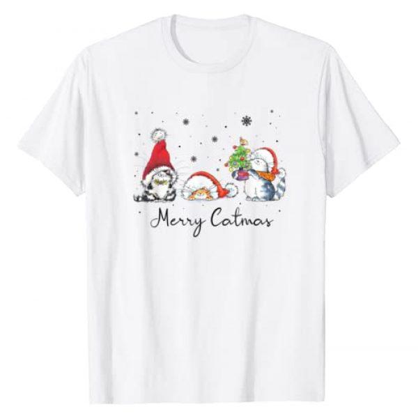Merry Catmas Cat Lover Santa Hat Christmas Graphic Tshirt 1 Cats With Santa Hat Merry Catmas Cat Lover Christmas Gift T-Shirt