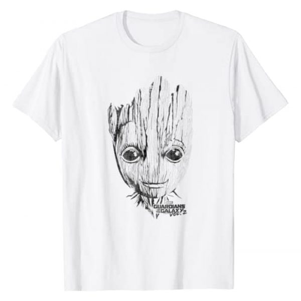 Marvel Graphic Tshirt 1 Guardians Vol. 2 Groot Lines Face Graphic T-Shirt