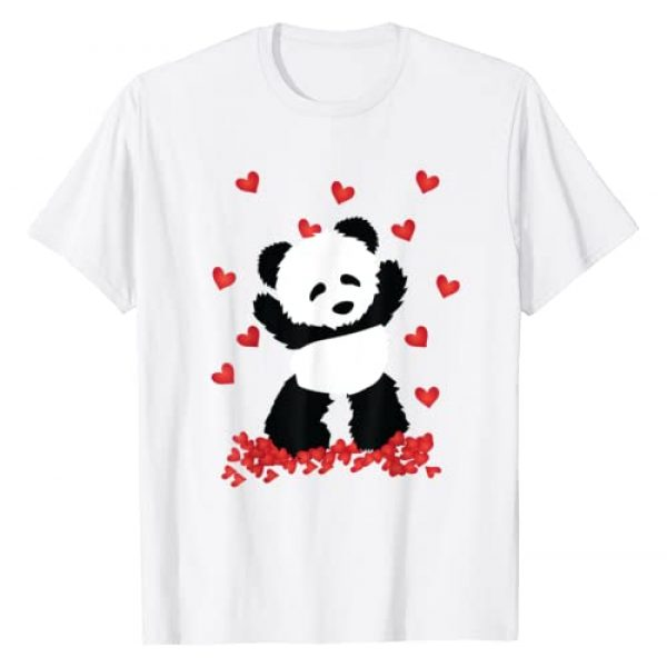 NipoCutie Graphic Tshirt 1 Panda with Hearts - Valentines Day Women and Girls T-Shirt