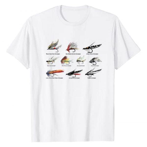 Fly Fishing Cool T-shirts Graphic Tshirt 1 Vintage Fly Fishing Lures in Color T-shirt T-Shirt