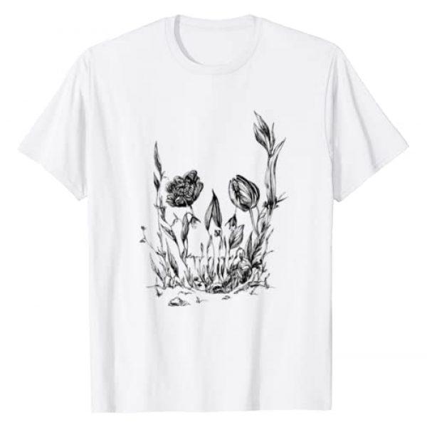 Crazy Skull Lady Graphic Tshirt 1 Flowers Skull Floral Sugar Skull Tulip Rose Skull Tree T-Shirt