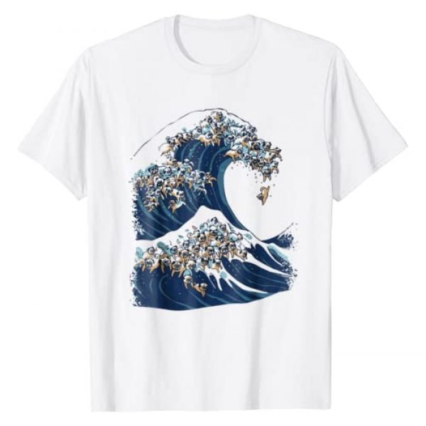 Huebucket Graphic Tshirt 1 The Great Wave of Pugs Funny T- Shirt by Huebucket