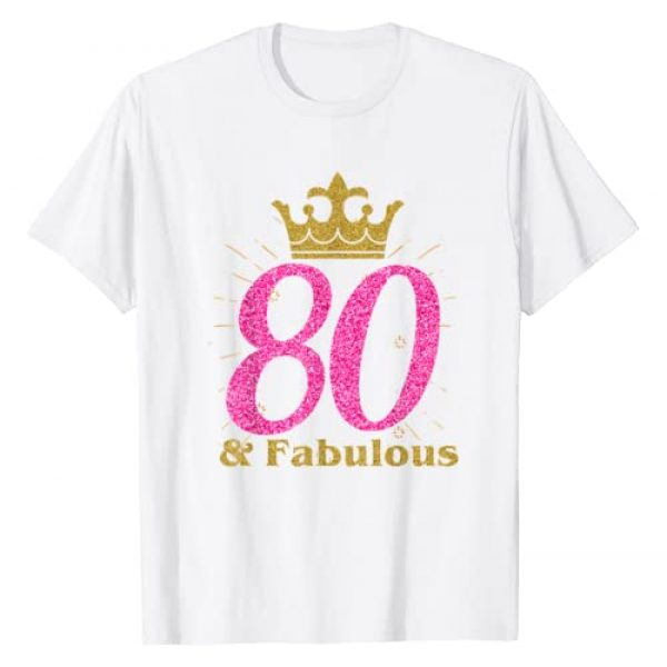 Cool Glam Special Celebration T-shirts Graphic Tshirt 1 80th & Fabulous Shirt   Queen Ladies' B-day Women Tee Gift