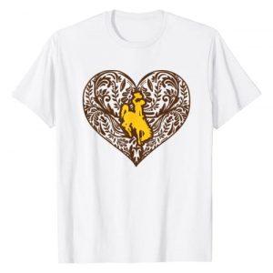 FanPrint Graphic Tshirt 1 Wyoming Cowboys Patterned Heart T-Shirt - Apparel