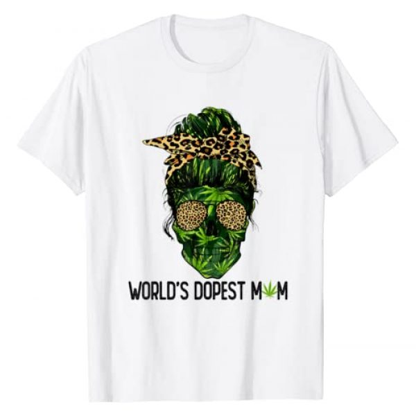 Skull Lady Gift Graphic Tshirt 1 Woman World's Dopest Mom Leopard Skull Lady Weed T-Shirt