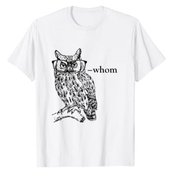 Bookworm Basics Graphic Tshirt 1 Who Whom Grammar Owl t shirt