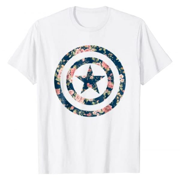 Marvel Graphic Tshirt 1 Avengers Captain America Floral Icon Graphic T-Shirt
