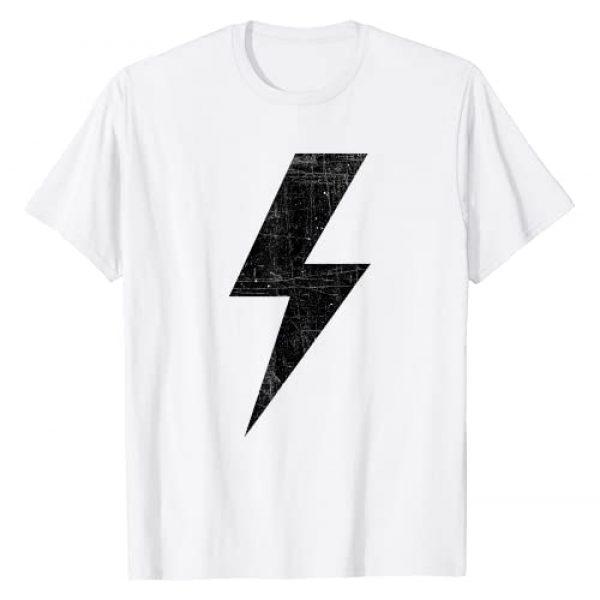 Bolt of Lightning Designs! Graphic Tshirt 1 Retro Distressed Bolt Lightning Black Design T-Shirt