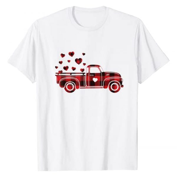 Buffalo Red Plaid Hearts Valentines Day Gifts Graphic Tshirt 1 Buffalo Red Plaid Hearts Vintage Truck Cute Valentine's Day T-Shirt