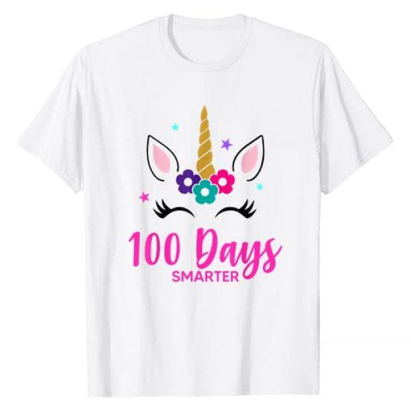 100 Days of School Shirt 100 Days Smarter Unicorn Graphic Tshirt 1 Girls Gift T-Shirt