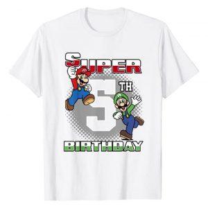 SUPER MARIO Graphic Tshirt 1 And Luigi Super Birthday 5th Birthday Portrait T-Shirt