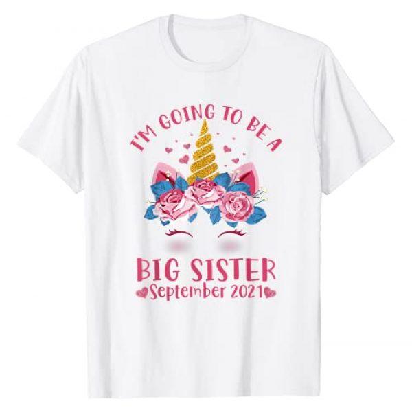 Cute Unicorn Birthday Girl Family Gift Shirt Graphic Tshirt 1 I'm Going To Be A Big Sister Cute Unicorn September 2021 T-Shirt