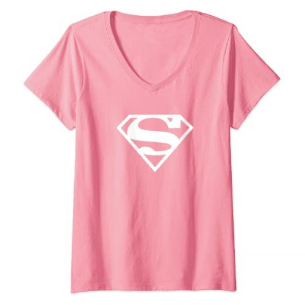 DC Comics Graphic Tshirt 1 Womens Supergirl White & Pink Shield V-Neck T-Shirt