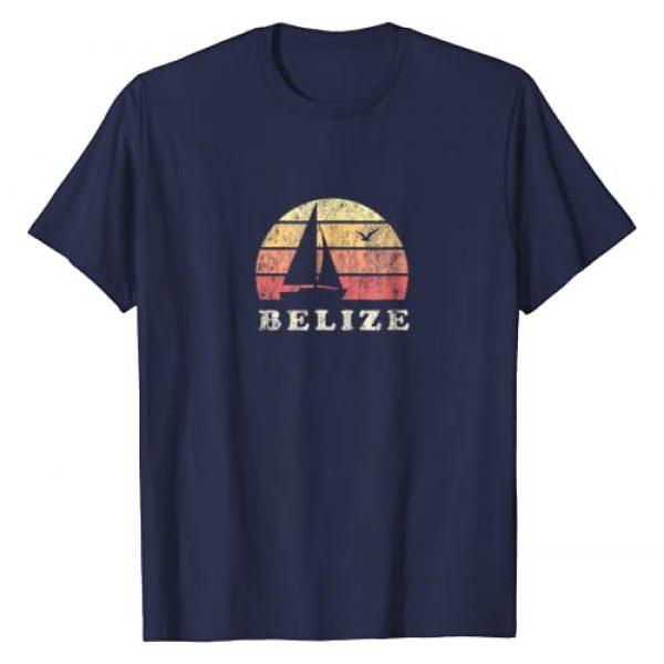 Belize Sailing T-Shirts & Retro Tees Graphic Tshirt 1 Belize T-Shirt Vintage Sailboat 70s Throwback Sunset Tee