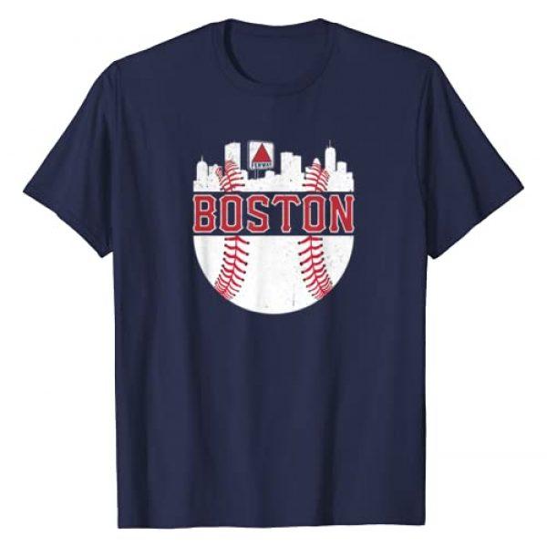 BostonBaseballSkylineCo. Graphic Tshirt 1 Vintage Boston Baseball Skyline Massachusetts Retro Fan Gift T-Shirt