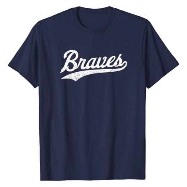Script Gift Graphic Tshirt 1 Vintage Braves Distressed Script T-Shirt