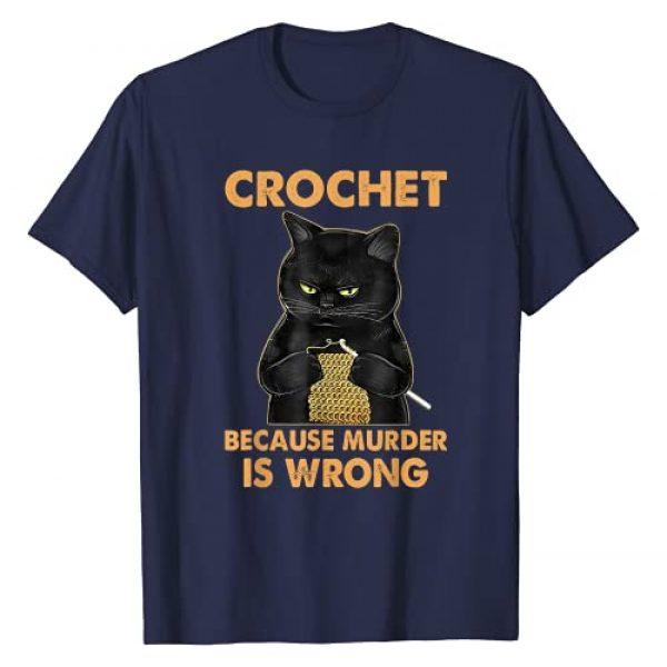 Crochet Because Murder Is Wrong By Merch Graphic Tshirt 1 Crochet Because Murder Is Wrong Funny Black Cat T-Shirt