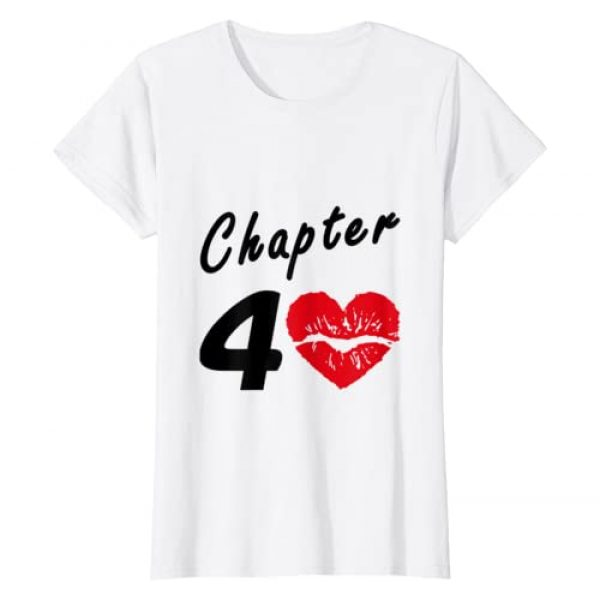 Funny Heart Lips Love 40 Years Old Birthday Gift Graphic Tshirt 1 Womens 40th Birthday - Heart Lips Love Chapter 40 Years Old - Gift T-Shirt