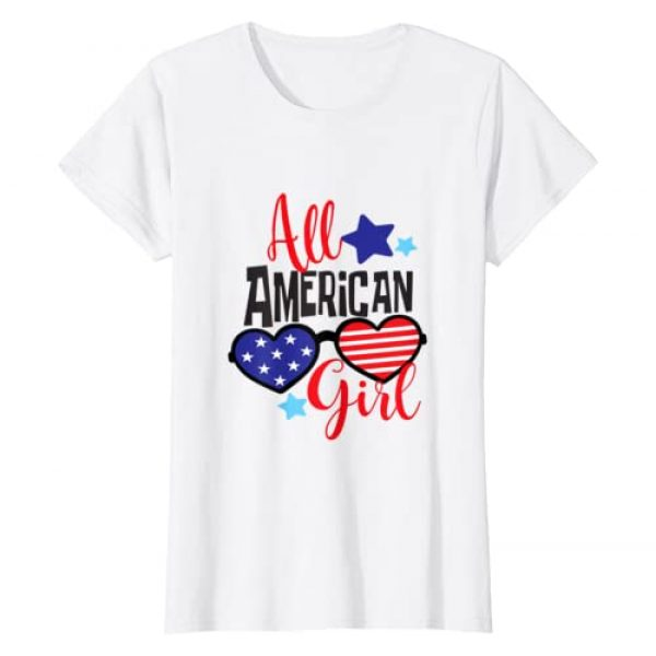 Patriotic Fun by Hydrangea House Graphic Tshirt 1 All American Girl Patriotic July 4th Fun T - Shirt