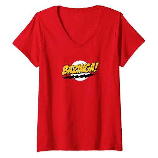 The Big Bang Theory Graphic Tshirt 1 Womens The Big Bang Theory Bazinga V-Neck T-Shirt