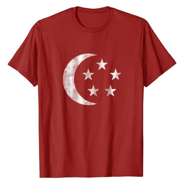 Singapore Flag Apparel by Usurper Graphic Tshirt 1 Retro Singapore Flag Souvenir Gift Men Women Kids T-Shirt