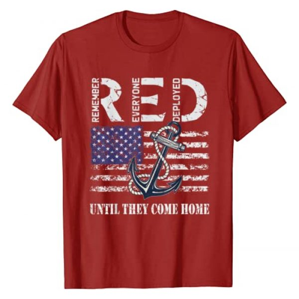 RED Friday Support Military T-Shirts Graphic Tshirt 1 Red Friday Military Deployed Navy Soldier US Flag Veteran T-Shirt