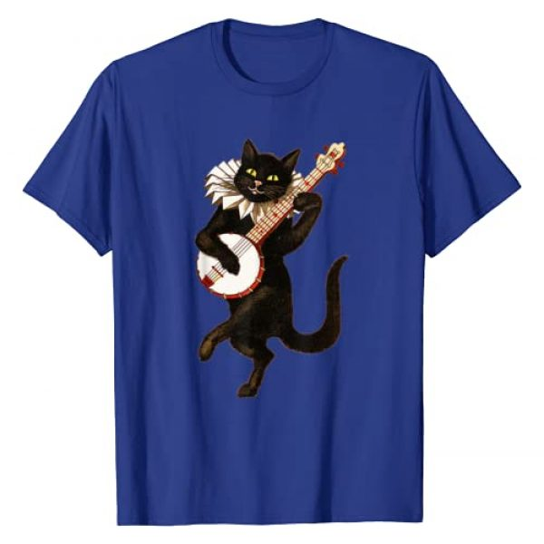 Weird Cat Playing Banjo Funny Cat Lover Silly Tees Graphic Tshirt 1 Vintage Silly Weird Cat Playing Banjo Country Cat Lover Gift T-Shirt