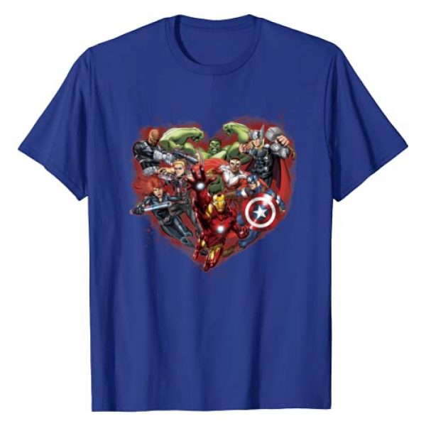 Marvel Graphic Tshirt 1 Avengers Heart Group Shot Valentine Graphic T-Shirt