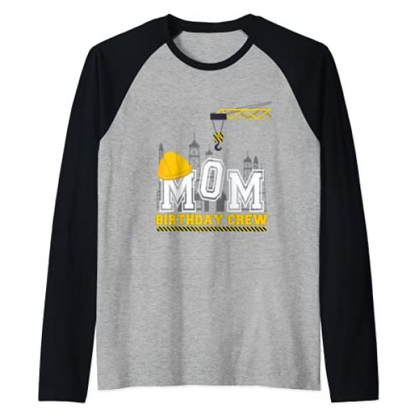 Construction Birthday Party Family matching Shirts Graphic Tshirt 1 Mom Birthday Crew Construction Birthday family Party Raglan Baseball Tee