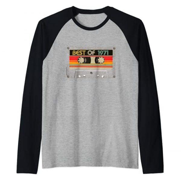 BORN Graphic Tshirt 1 Best Of 1971 50th Birthday Gifts Cassette Tape Vintage Raglan Baseball Tee