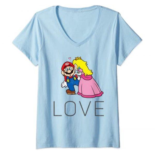 Nintendo Graphic Tshirt 1 Womens Super Mario Princess Peach Kiss Love V-Neck T-Shirt