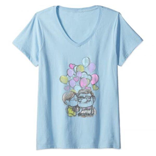 Disney Graphic Tshirt 1 Womens Disney Pixar Up Carl And Ellie Love V-Neck T-Shirt