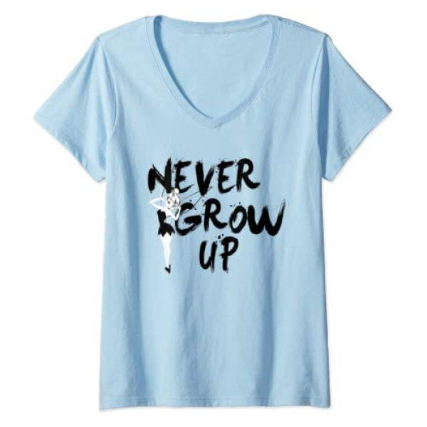 Disney Graphic Tshirt 1 Womens Disney Peter Pan Tinker Bell Never Grow Up Graffiti V-Neck T-Shirt
