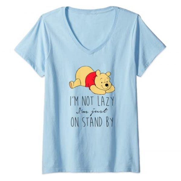 Disney Graphic Tshirt 1 Womens Disney Winnie The Pooh Not Lazy On Stand By V-Neck T-Shirt