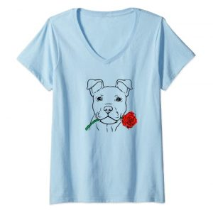 Valentines Day Puppy Love Rescue Dog Graphic Tshirt 1 Womens Puppy Love Cute Rescue Puppy Valentine's Day Girlfriend Gift V-Neck T-Shirt